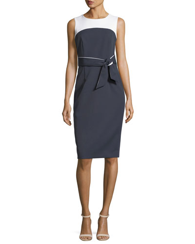 Two-Tone Stretch-Crepe Dress
