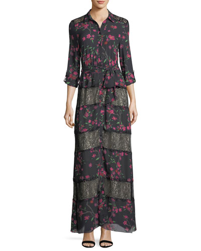 Sina Tie-Waist Paneled Floral-Print & Lace Long Dress