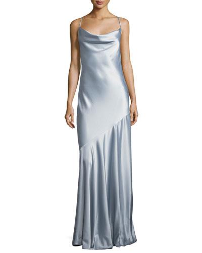 Bias-Cut Satin Evening Gown