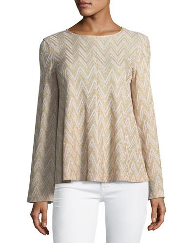 Metallic-Knit Jersey Swing Top