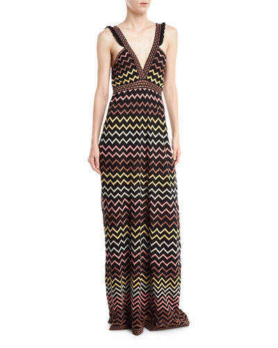 Multicolor Zigzag-Print Maxi Dress