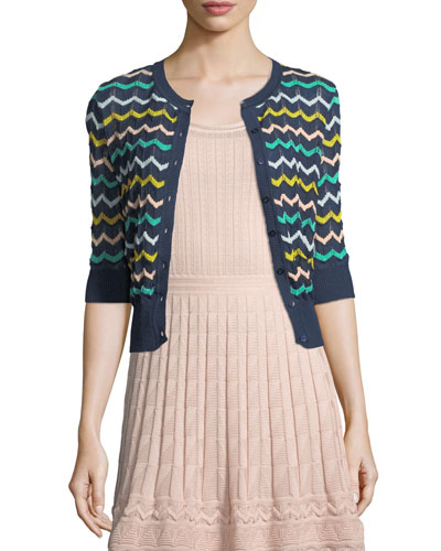 Zigzag-Knit Short-Sleeve Cardigan