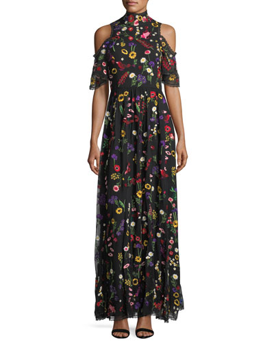 Adella Embroidered Mock-Neck Cold-Shoulder Gown