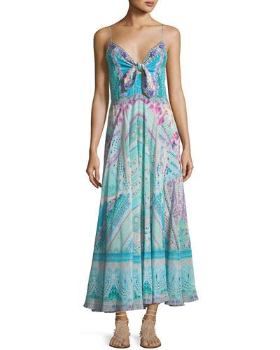 Tie-Front Silk Printed Dress