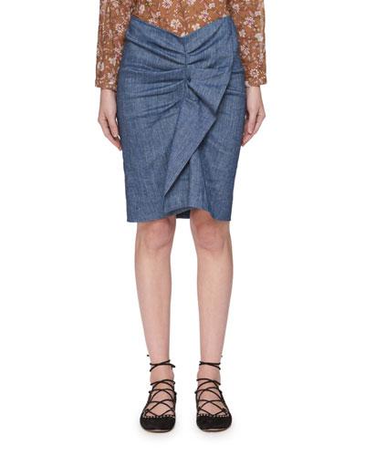 Ornela Ruffle Chambray Skirt