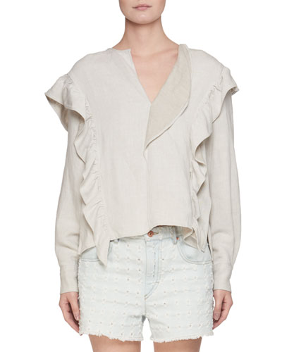 Wally Chalk Flounce Long-Sleeve Blouse