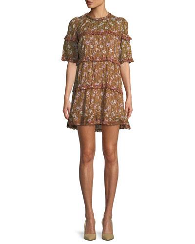 Maiwenn Ochre Floral-Print Tiered Mini Dress