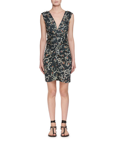 Carla Plunging Sleeveless Printed Satin Dress