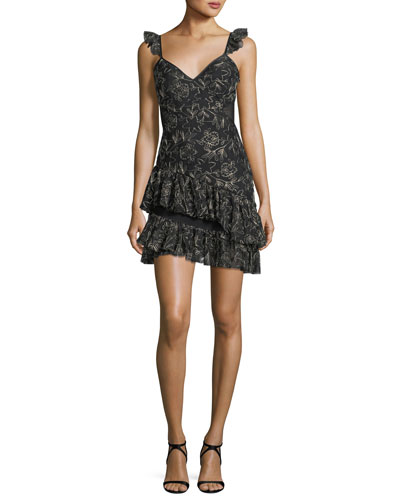 Enid V-Neck Sleeveless Embroidered Mini Dress