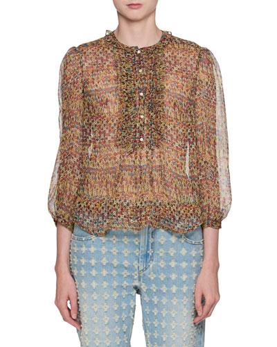 Elou Button-Front Printed Chiffon Silk Blouse