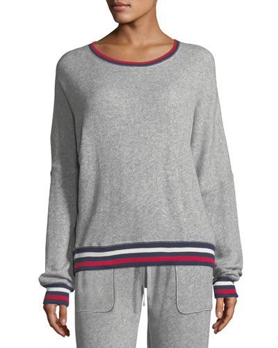 Richardine B Pullover Sweatshirt w/ Striped Trim