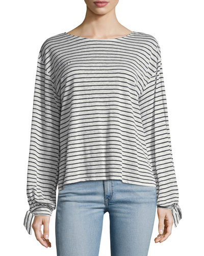 Delevan Round-Neck Striped Linen Top