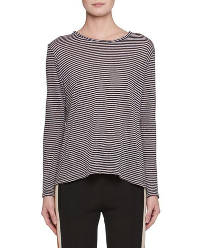 Kaaron Crewneck Long-Sleeve Striped Linen Shirt