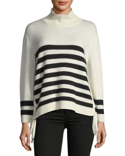Lantz Striped Turtleneck Wool-Cashmere Sweater w/ Tie Sides
