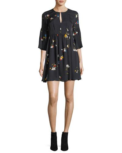 Avari Floral-Print Silk Dress
