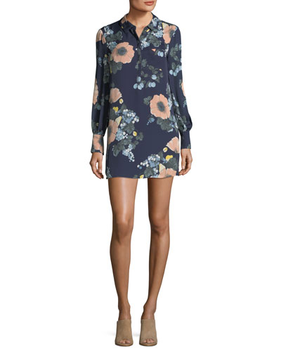 Amaranda Collared Floral-Print Silk Mini Dress