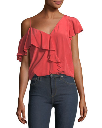 Alcyoneus One-Shoulder Ruffled Silk Top