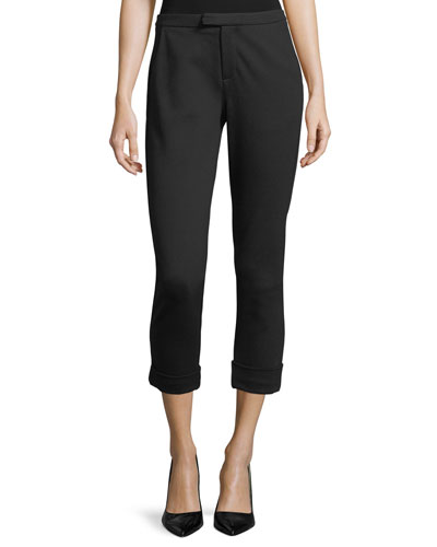 Shawnta Slim Cropped Crepe Pants