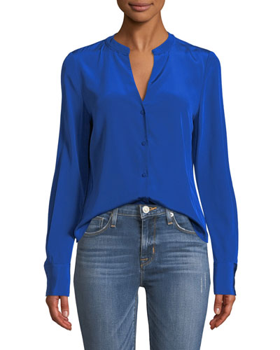 Long-Sleeve Button-Front Silk Shirt
