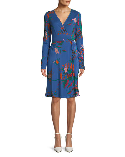 Floral-Print Long-Sleeve Side-Tie Wrap Dress