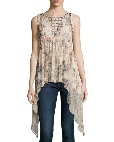Runway Sleeveless Printed Blouse w/ Ring Trim