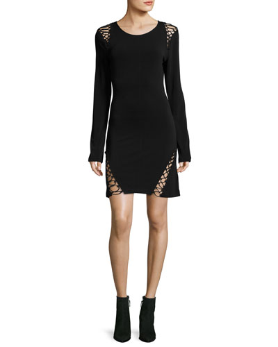 Runway Long-Sleeve Stretch-Knit Dress w/ Lace-Up Trim