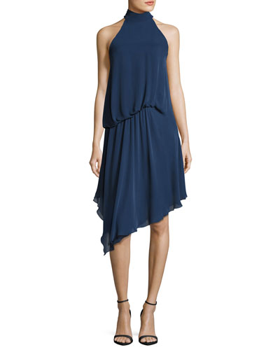 Katherine Halter-Neck Asymmetric Draped Silk Dress