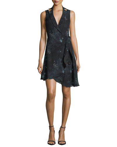 Silk Paisley Blazer Dress w/ Asymmetric Hem