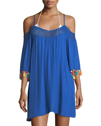 Cha Cha Cha Off-the-Shoulder Coverup Tunic with Pompom
