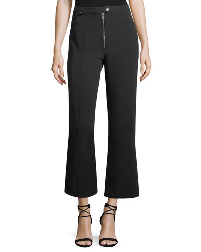 Harlow High-Waist Flared-Leg Stretch-Knit Pants