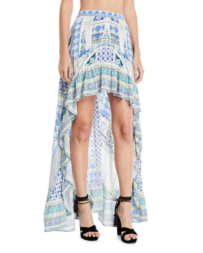 Elasticized Printed High-Low Silk Skirt