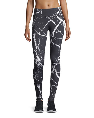 Huntley Marble-Print Performance Leggings w/ Mesh