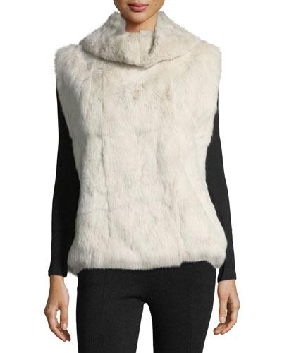 Cowl-Neck Fur Pullover Vest