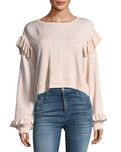 Round-Neck Long-Sleeve Sweatshirt w/ Ruffled Trim