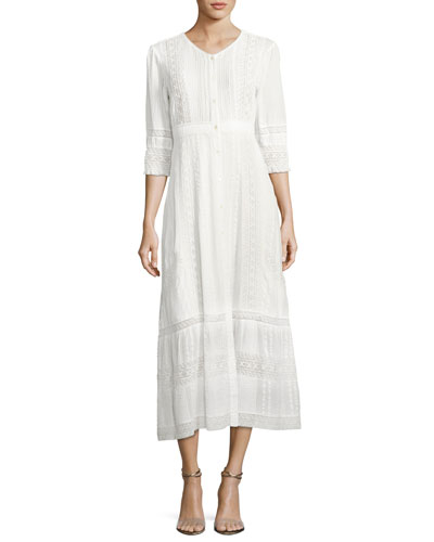 Desert Button-Front Embroidered Maxi Dress