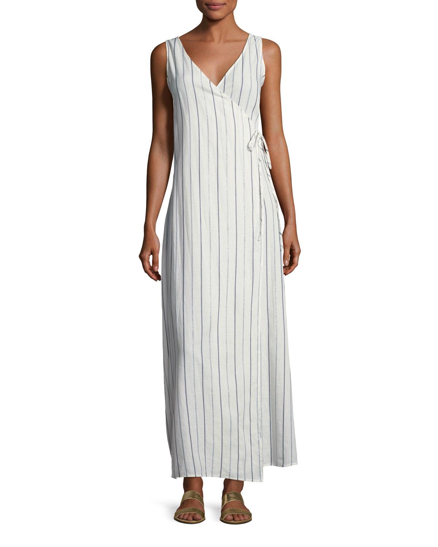 Grace Sleeveless Striped Cotton Wrap Maxi Dress