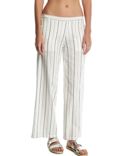 Mila Striped Wide-Leg Coverup Pants