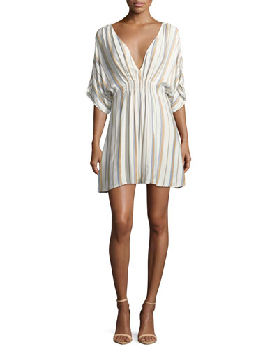 Alessandra Plunging Striped Coverup Dress