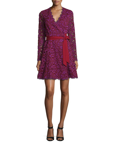 Shaelyn Lace Long-Sleeve Wrap Dress