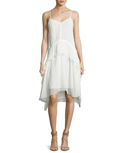Cynthia Sleeveless Silk Voile Ruffle Dress, Ivory