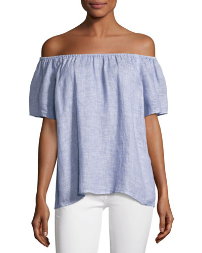 Amesti B Off-The-Shoulder Linen Top