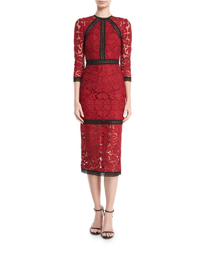 Randie High-Neck 3/4-Sleeve Lace Midi Dress