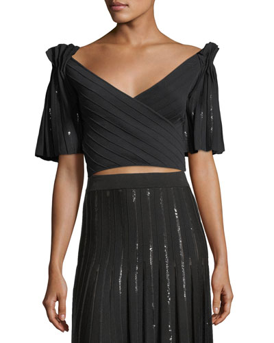 Pleated Sequin Pintucked Wrap Crop Top