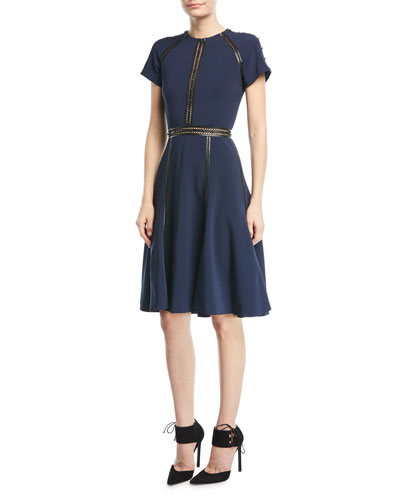 Short-Sleeve Crepe Dress with Studded Leather Trim