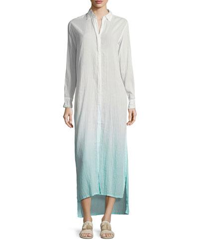 Button-Front Long Ombre Beach Shirtdress