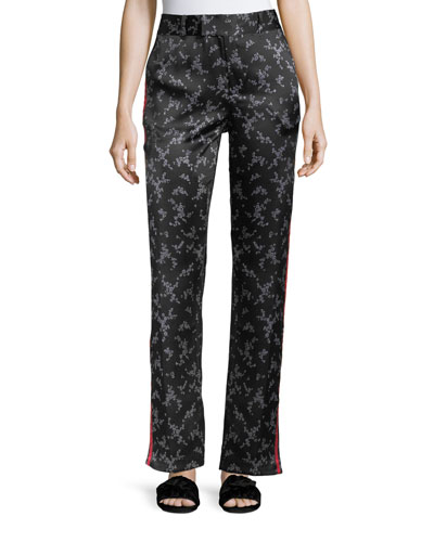 Florence Floral-Print Straight-Leg Silk Trousers
