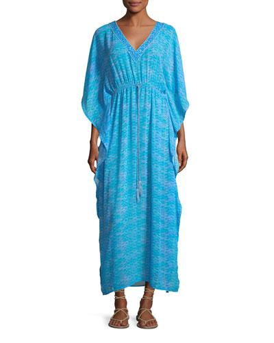 V-Neck Printed Georgette Caftan Maxi Dress