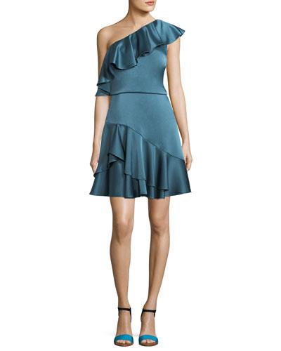 One-Shoulder Ruffled Satin Cocktail Dress