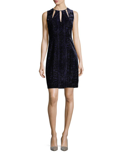 Jemra Sleeveless Velvet Sheath Dress, Mystic Grape