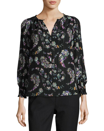 Jewel-Neck Floral-Print Blouse